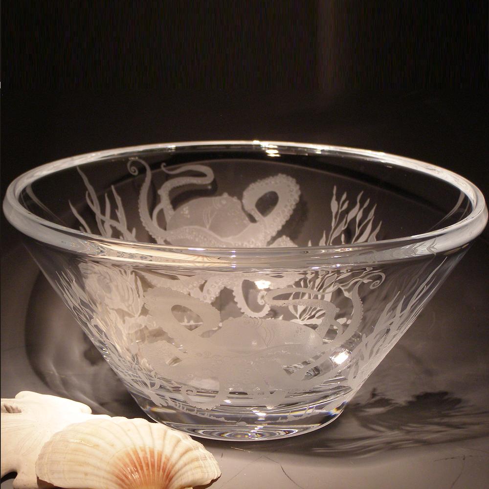 Octopus Scene Luminous Crystal Bowl | Evergreen Crystal | EC101-SS60