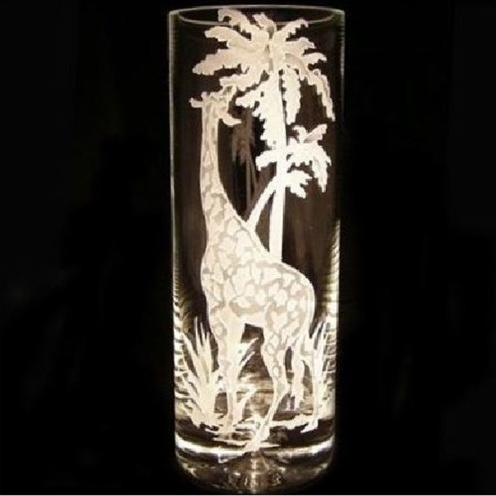 Giraffe Cylinder Crystal Vase | Evergreen Crystal | EC12007