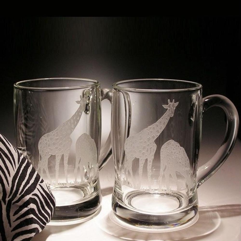 Giraffe Crystal Beer Mug Set of 2 | Evergreen Crystal | EC278G