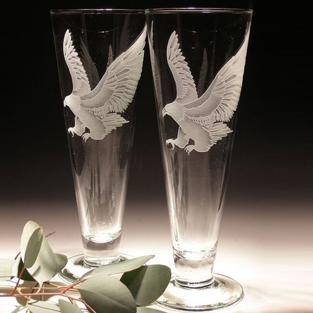 Eagle Crystal Pilsner Glass Set of 2 | Evergreen Crystal | EC289E