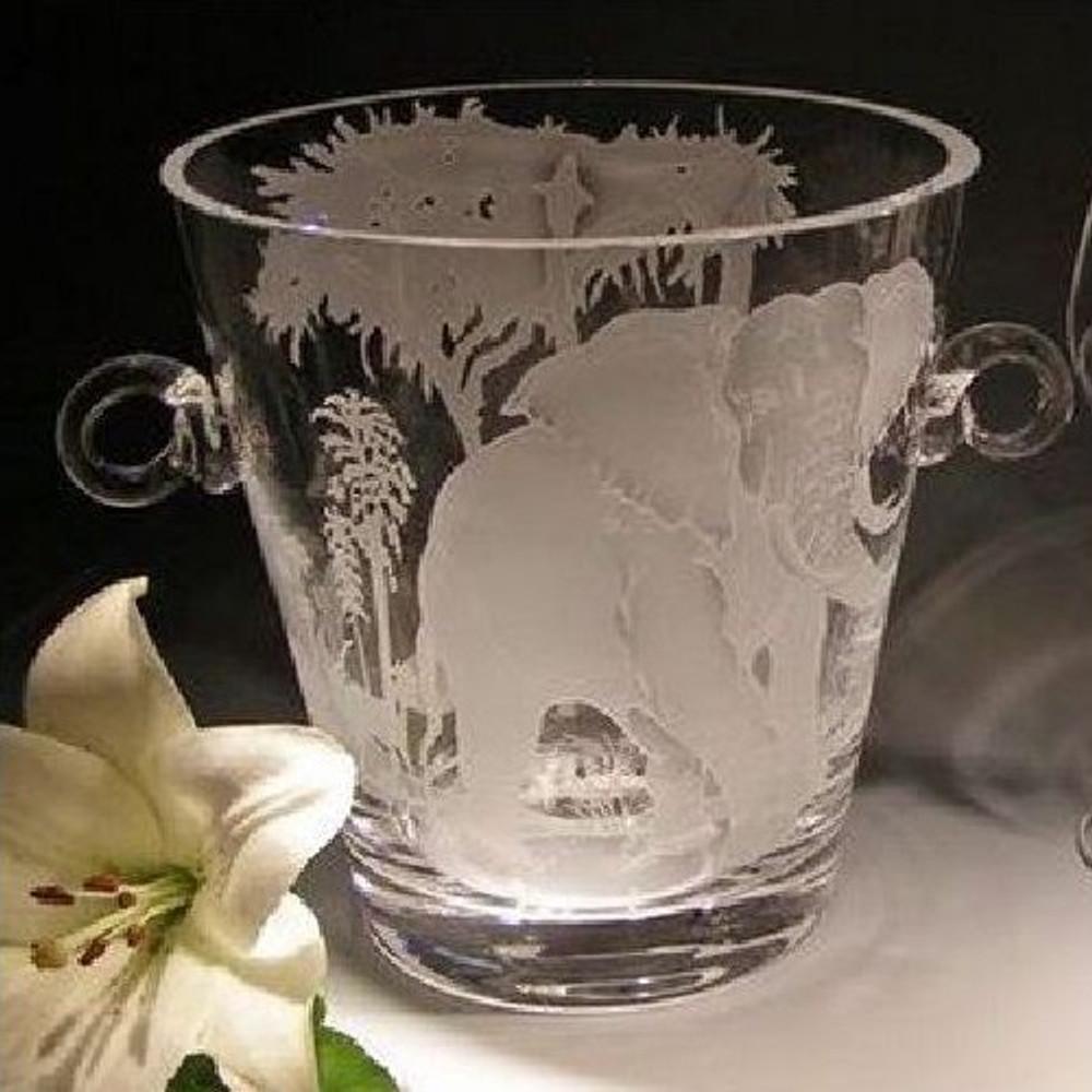 African Savannah Elephant Crystal Wine Cooler | Evergreen Crystal | EC603