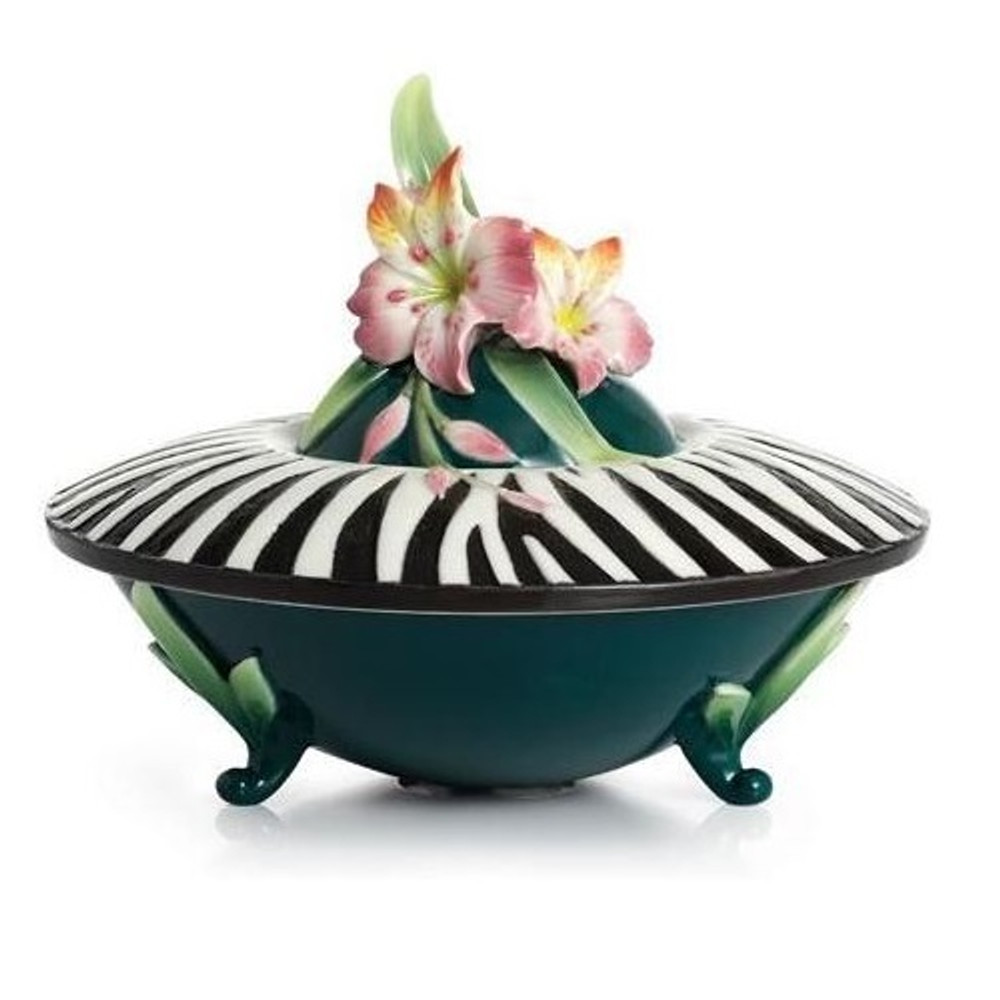 Safari Zebra Covered Jewelry Box | Franz Porcelain Jewelry -2