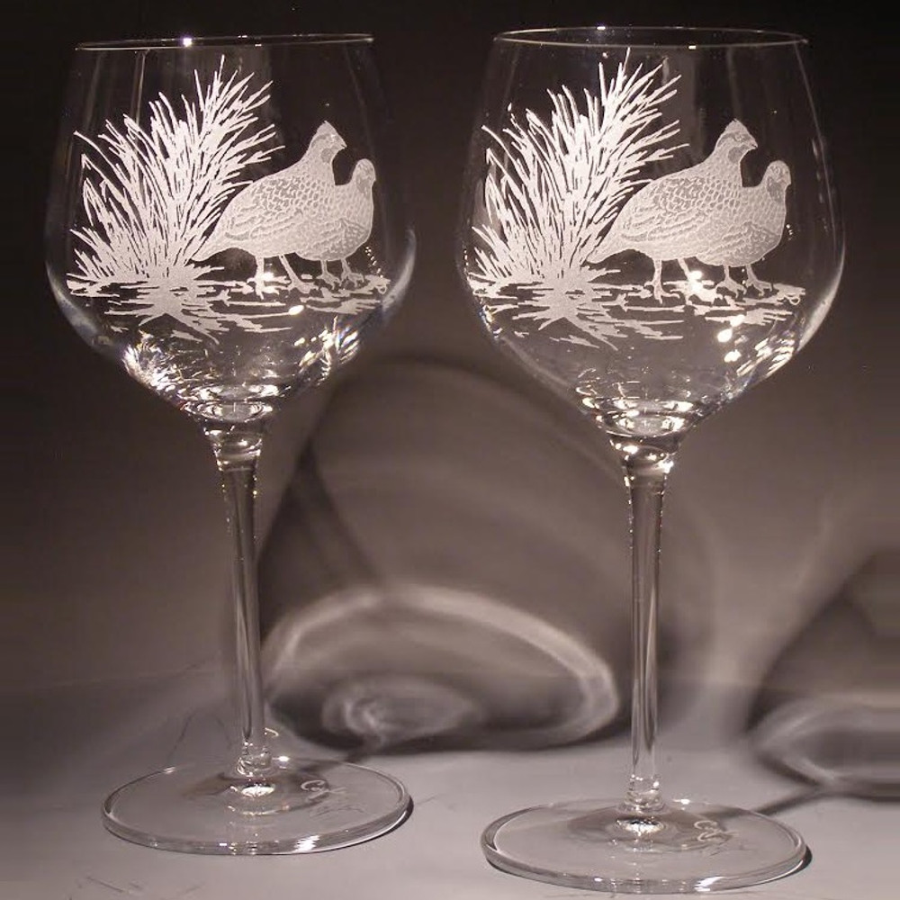 Bob White Crystal 18 oz. Wine Glass Set of 2 | Evergreen Crystal | eci115a