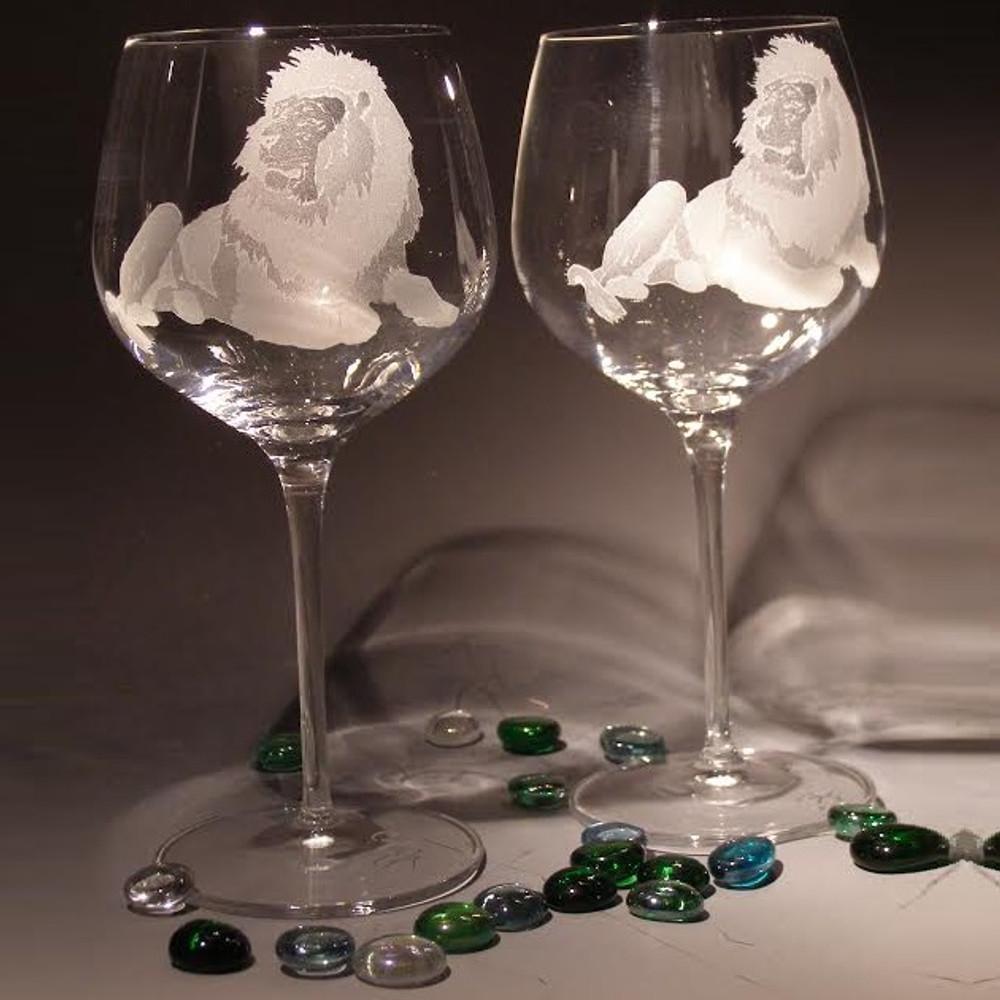 Lion Crystal 18 oz Wine Glass Set of 2 | Evergreen Crystal | eci115e