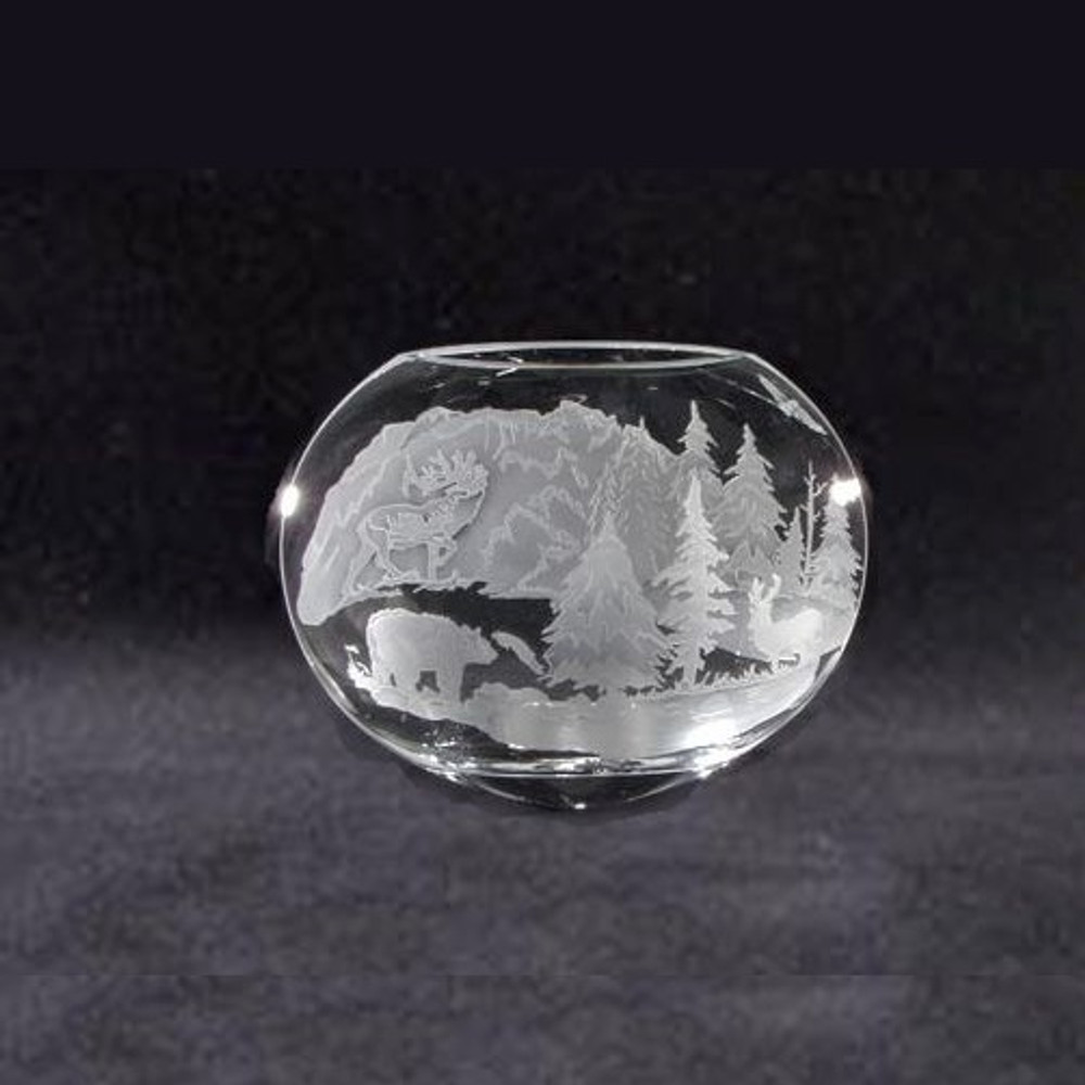 Bear Elk Crystal Neo Oval Vase   Evergreen Crystal   ECIP9290054