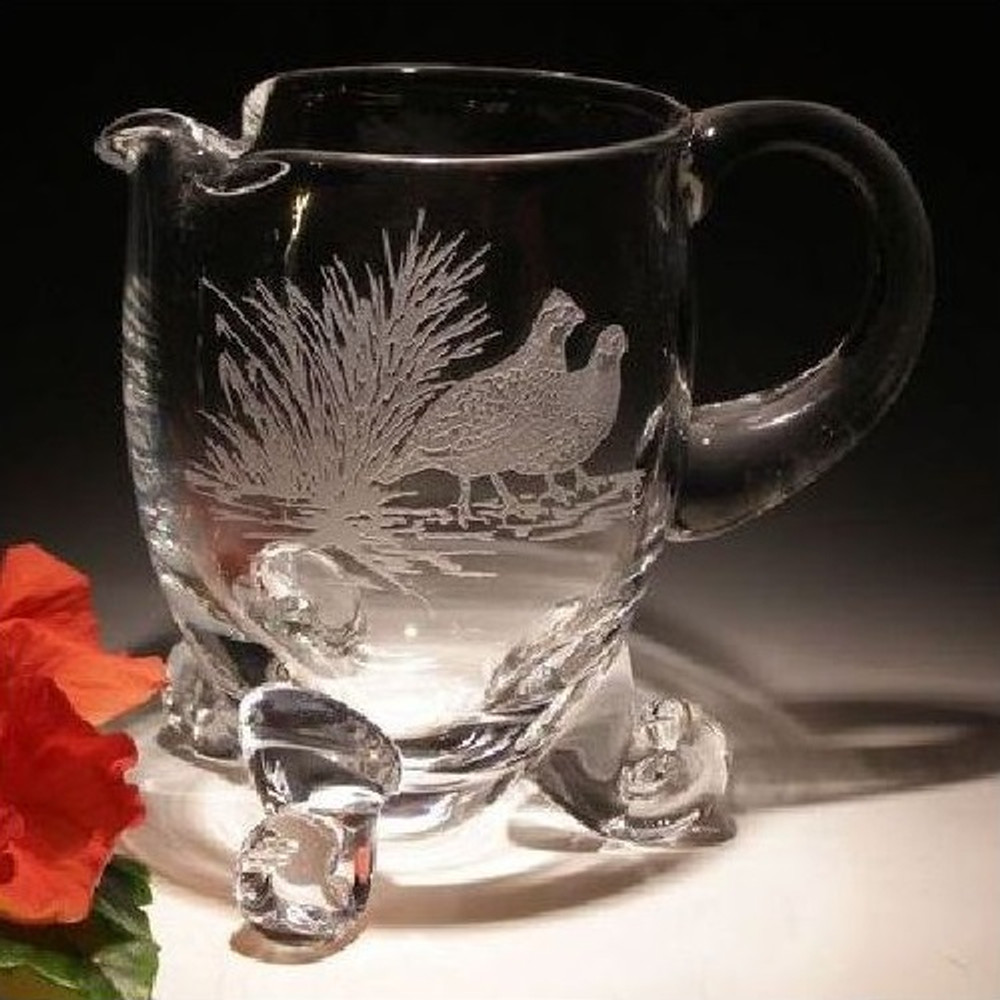 Bobwhite Scene Large Crystal Footed Pitcher | Evergreen Crystal | ECna28637