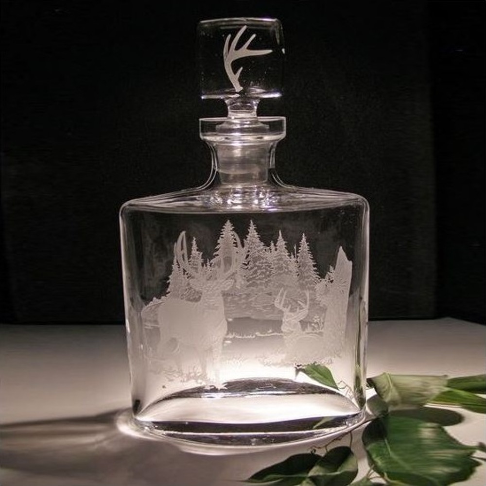 Whitetail Deer Crystal Rectangle Decanter | Evergreen Crystal | ECna57641