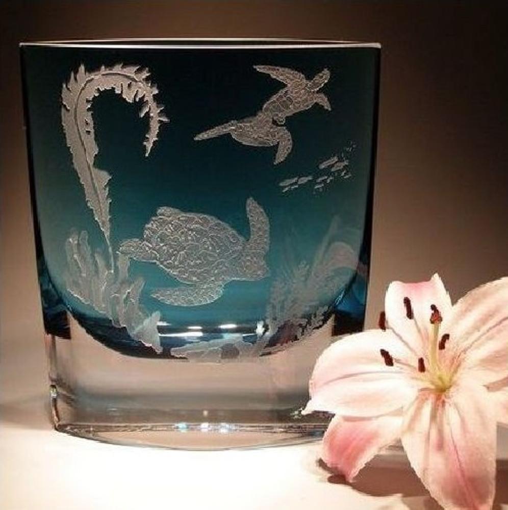 Sea Turtle Light Blue Wedge Crystal Vase   Evergreen Crystal   ECSS-44018b
