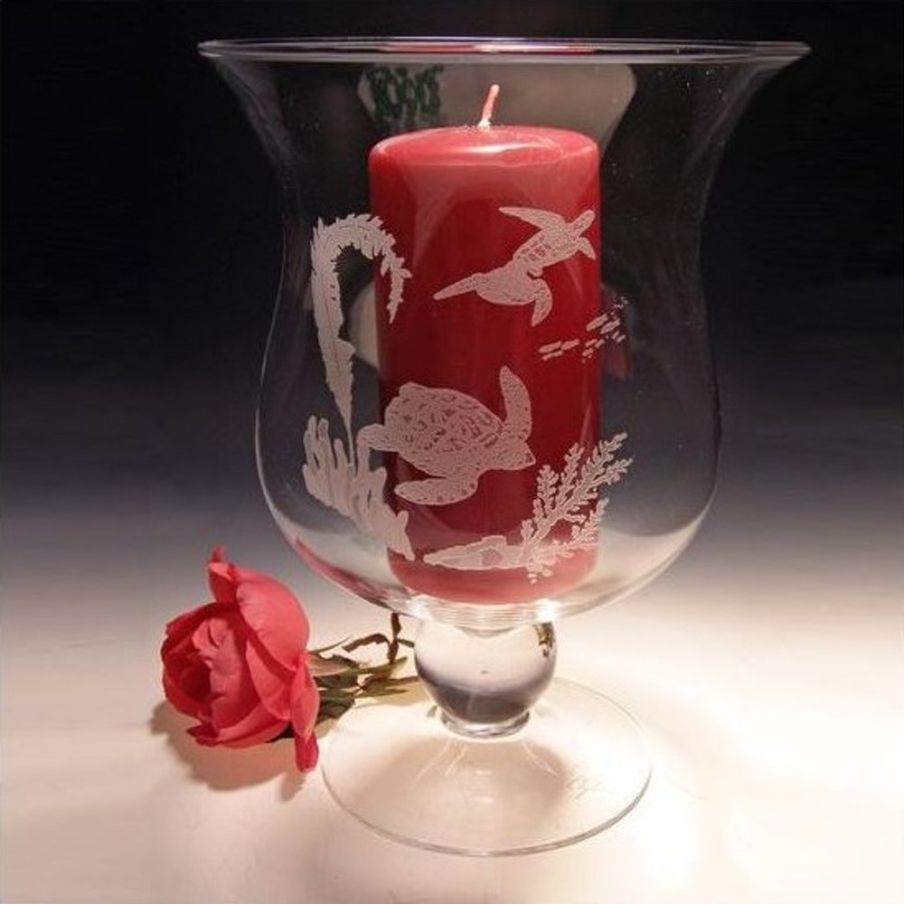 Sea Turtle Scene Crystal Hurricane Candle Holder | Evergreen Crystal | ECss44201