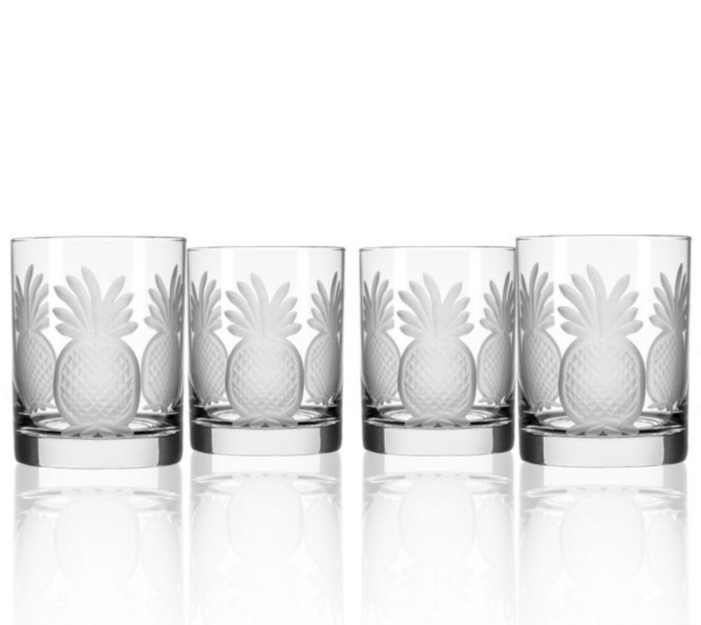 Pineapple Double Old Fashioned Glass Set of 4 | Rolf Glass | 205007