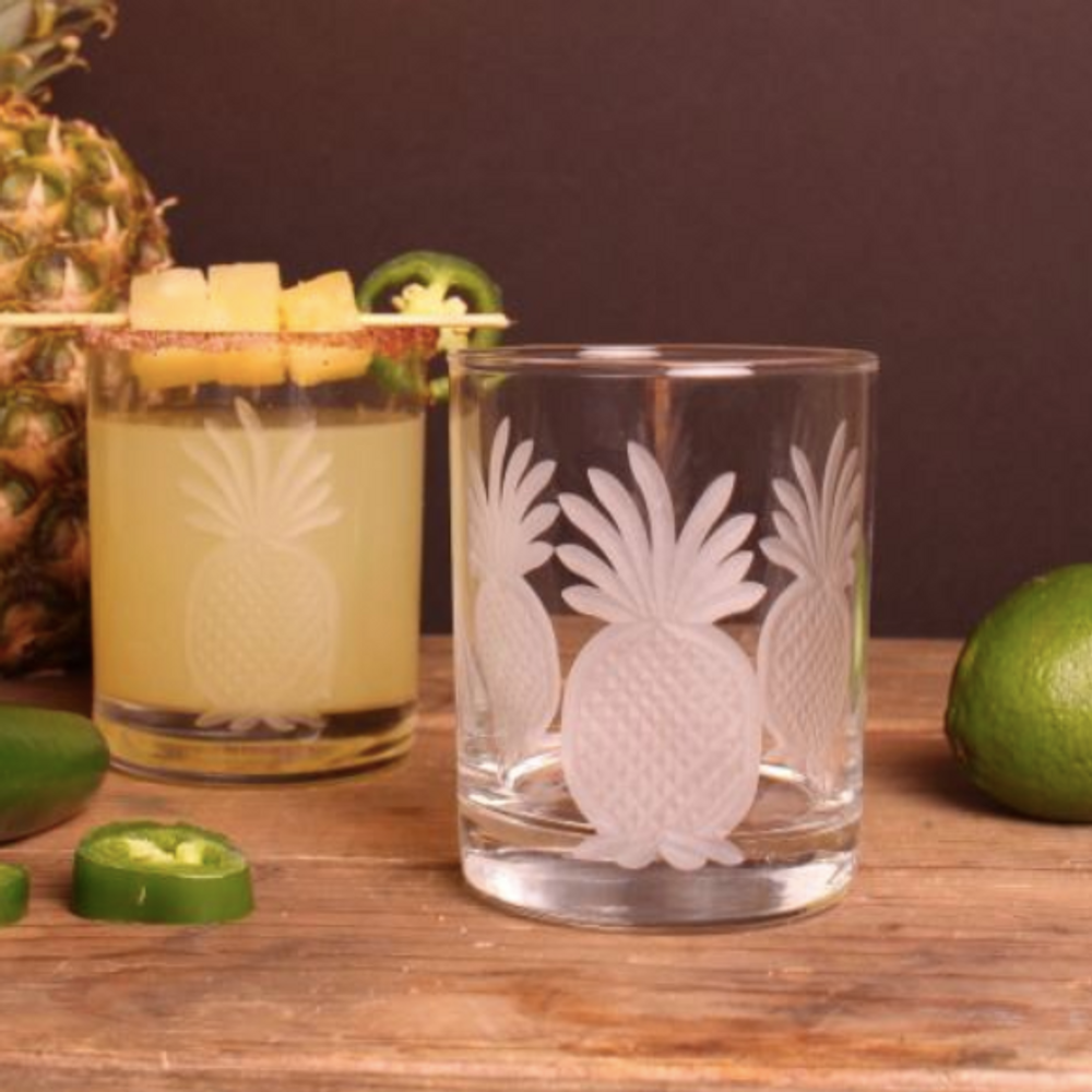 Pineapple Double Old Fashioned Glass Set of 4   Rolf Glass   205007