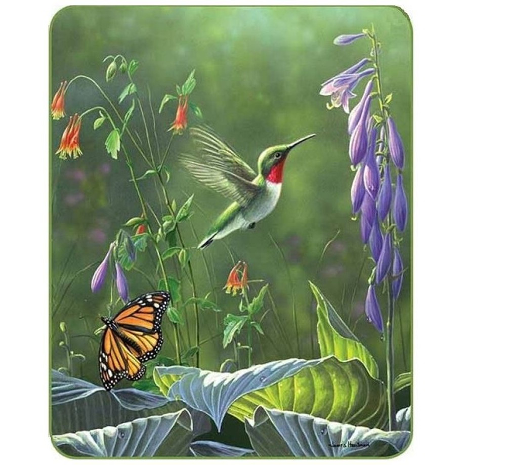 Hummingbird & Butterfly Ultra Plush Faux-Mink Blanket | DUKDB5265-2