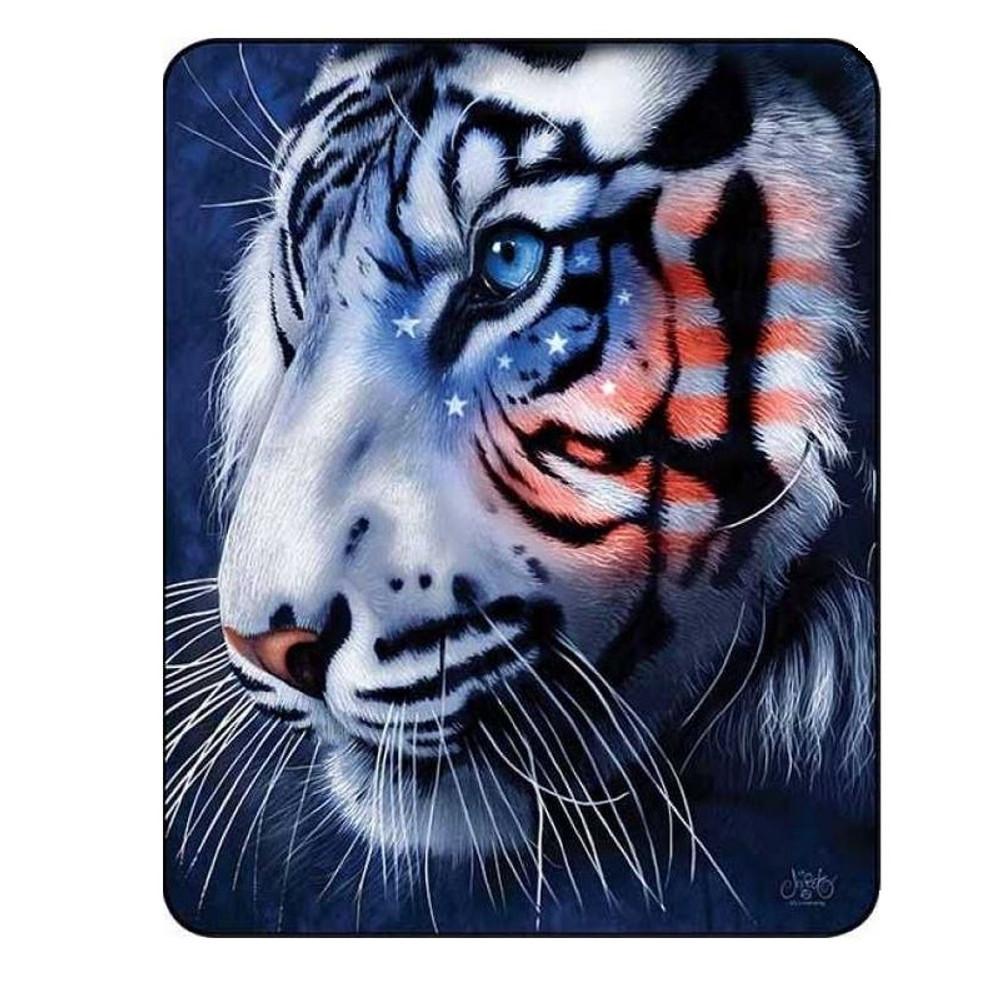 White Tiger Blanket White Stripes Patriotic Tiger | DUKDB5304-2