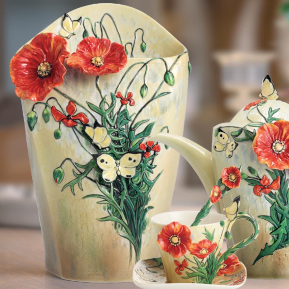 Van Gogh Poppy Flower Porcelain Vase | FZ02406 | Franz Porcelain Collection