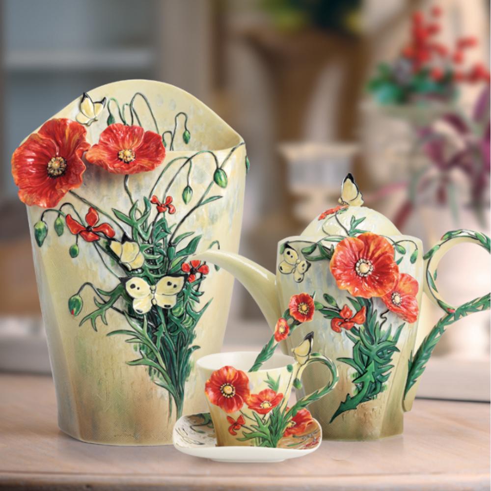 Van Gogh Poppy Flower Porcelain Vase   FZ02406   Franz Porcelain Collection