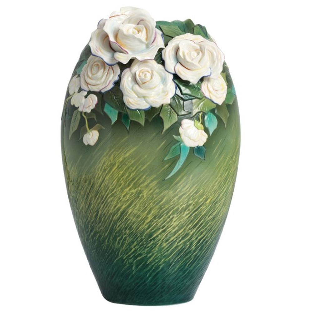 Van Gogh White Roses Porcelain Vase | FZ02407 | Franz Porcelain Collection