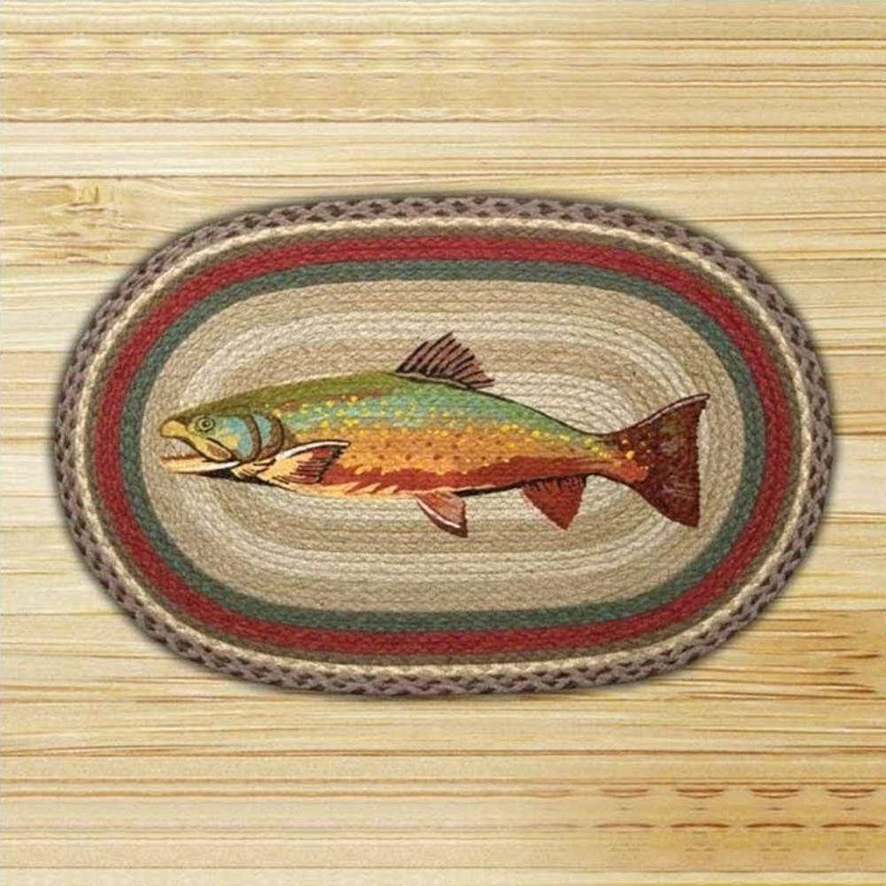 Trout Oval Patch Braided Rug | Capitol Earth Rugs | CEROP-244
