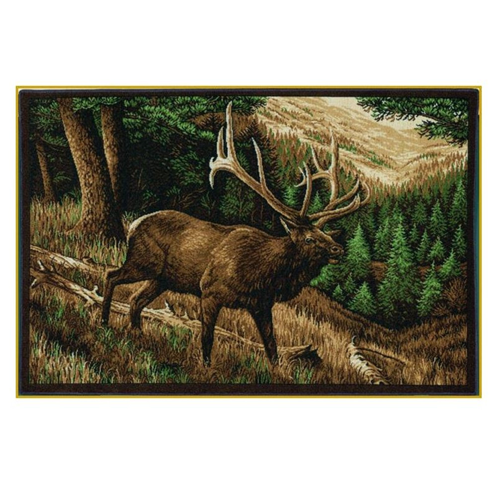 Elk Area Rug Roaming High Country | Custom Printed Rugs | CPR50