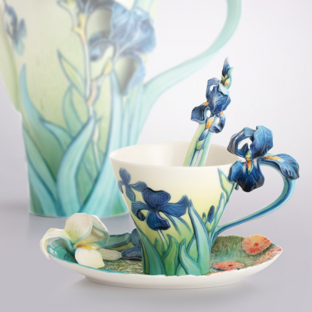 Van Gogh Iris Flower Cup Saucer Spoon | FZ02453 | Franz Porcelain Collection