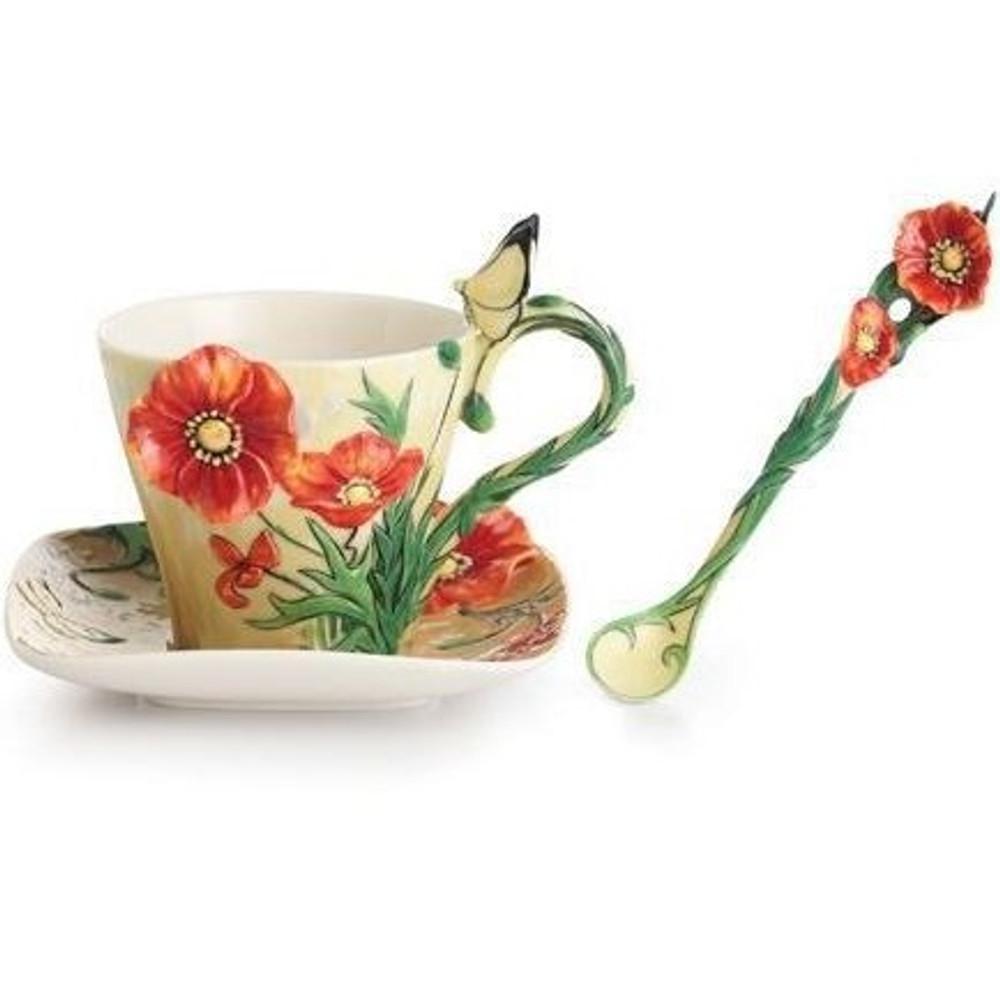 Van Gogh Poppy Flower Cup Saucer Spoon   FZ02455   Franz Porcelain Collection -2