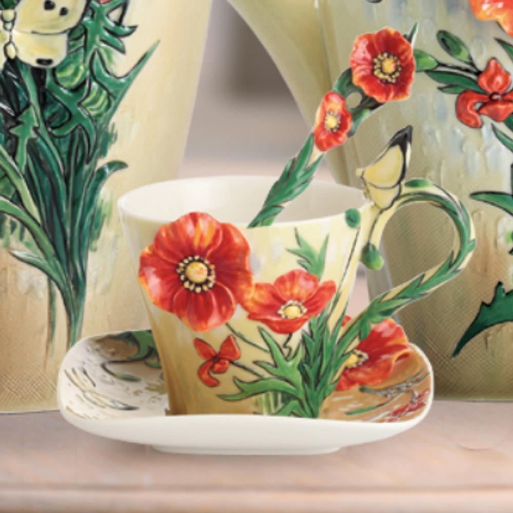 Van Gogh Poppy Flower Cup Saucer Spoon   FZ02455   Franz Porcelain Collection