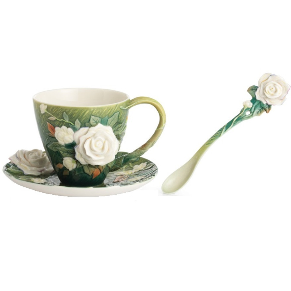 Van Gogh White Roses Cup Saucer Spoon | FZ02461 | Franz Porcelain Collection