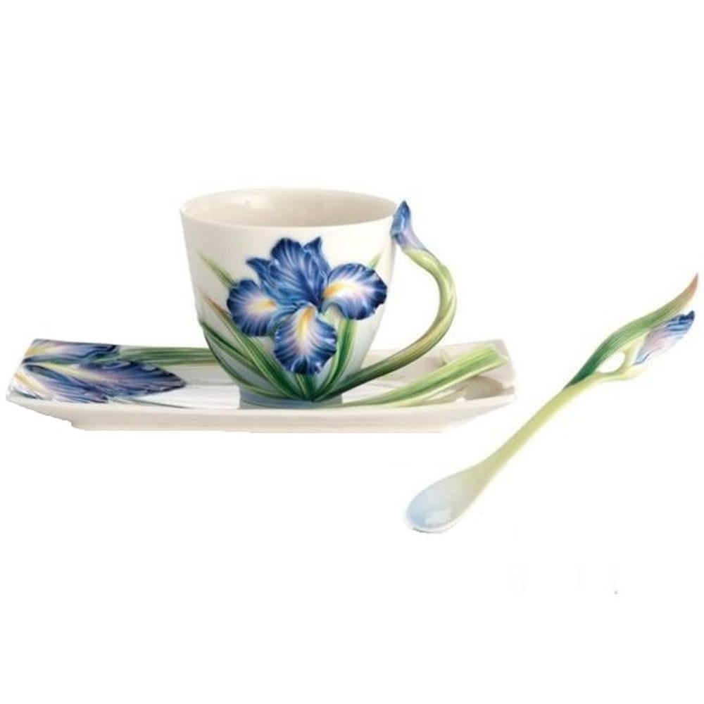 Eloquent Iris Cup Saucer Spoon | FZ02480 | Franz Porcelain Collection