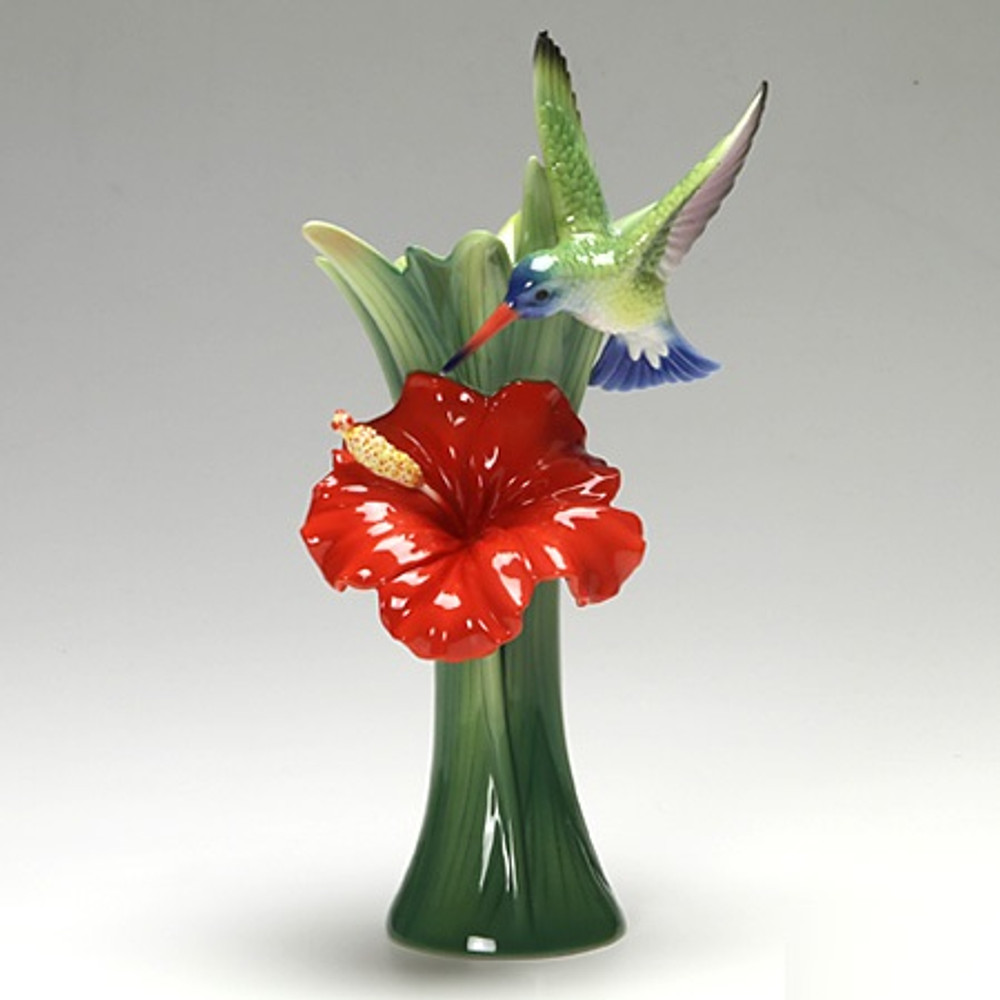Hummingbird Hibiscus Vase | FZ02582 | Franz Porcelain Collection -2