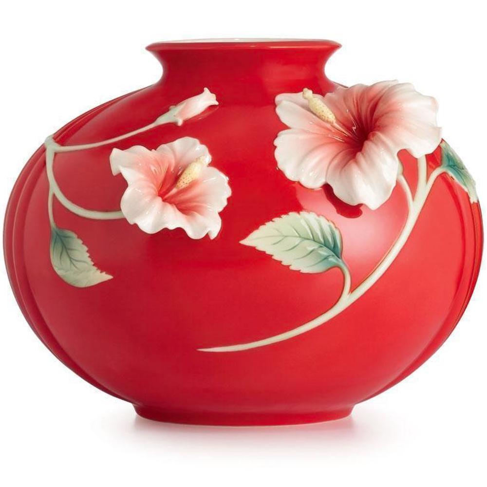 Island Beauty Hibiscus Porcelain Vase | FZ02590 | Franz Porcelain Collection