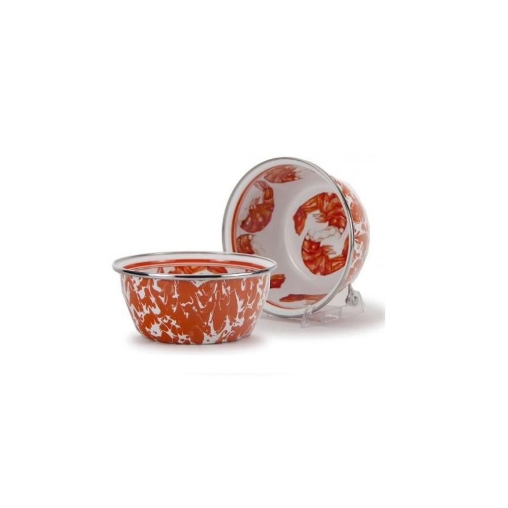 Shrimp Dinnerware 4 Piece Place Setting Enamelware | Golden Rabbit | GRESHRIMP -3