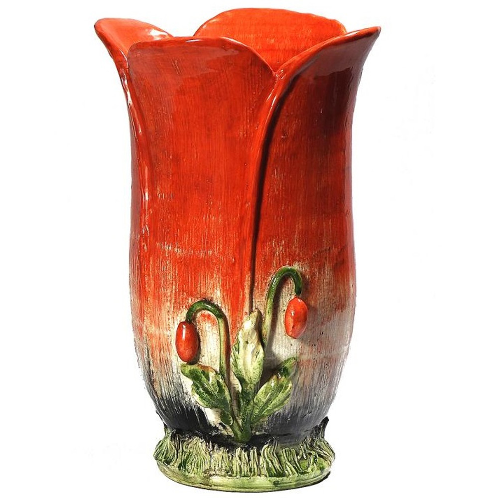 Majolica Red Poppy Ceramic Vase | Intrada Italy | INTMAJ8082