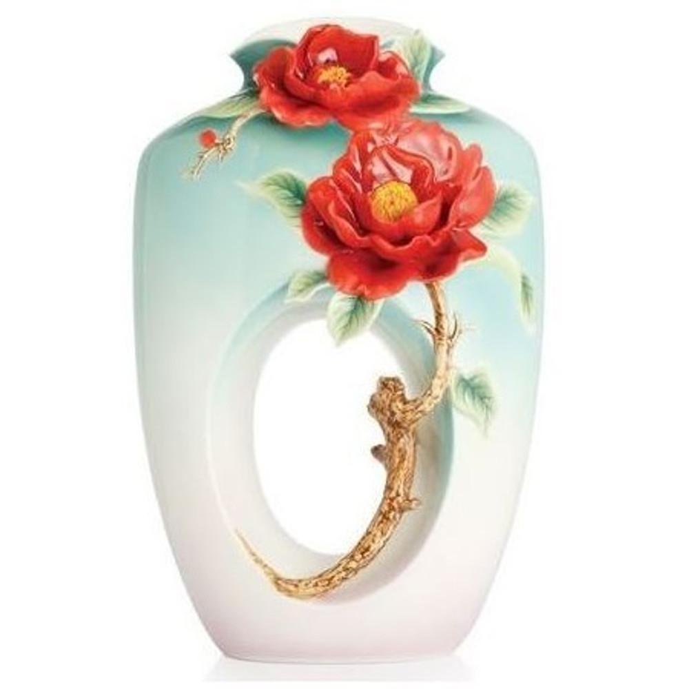 Red Camellia Flower Porcelain Vase   FZ02677   Franz Porcelain Collection -2