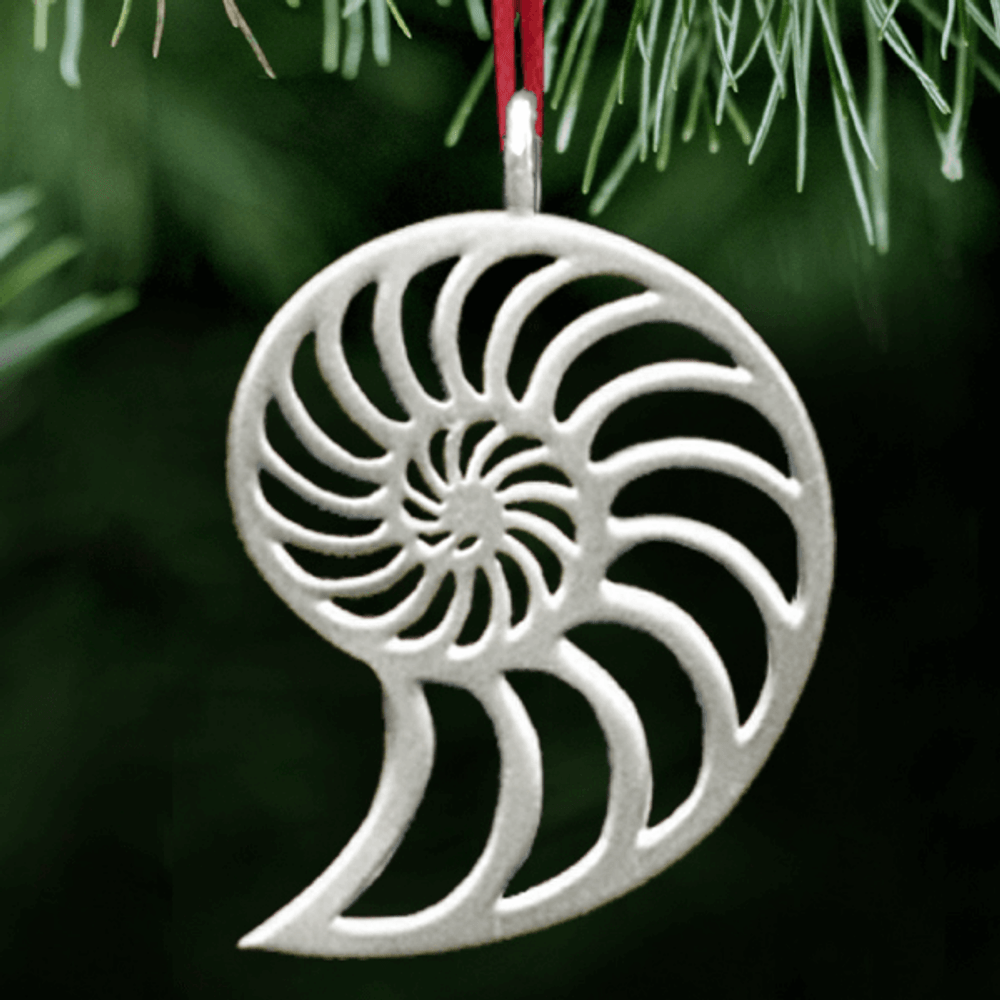 Nautilus Polished Pewter Ornament | Lovell Designs | LOVor110