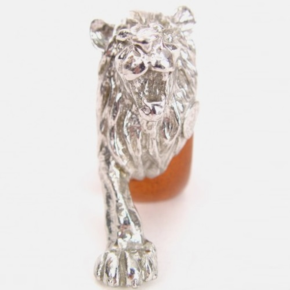Lion Wood and Pewter Napkin Ring | Mbare | MBSERW0018 -2