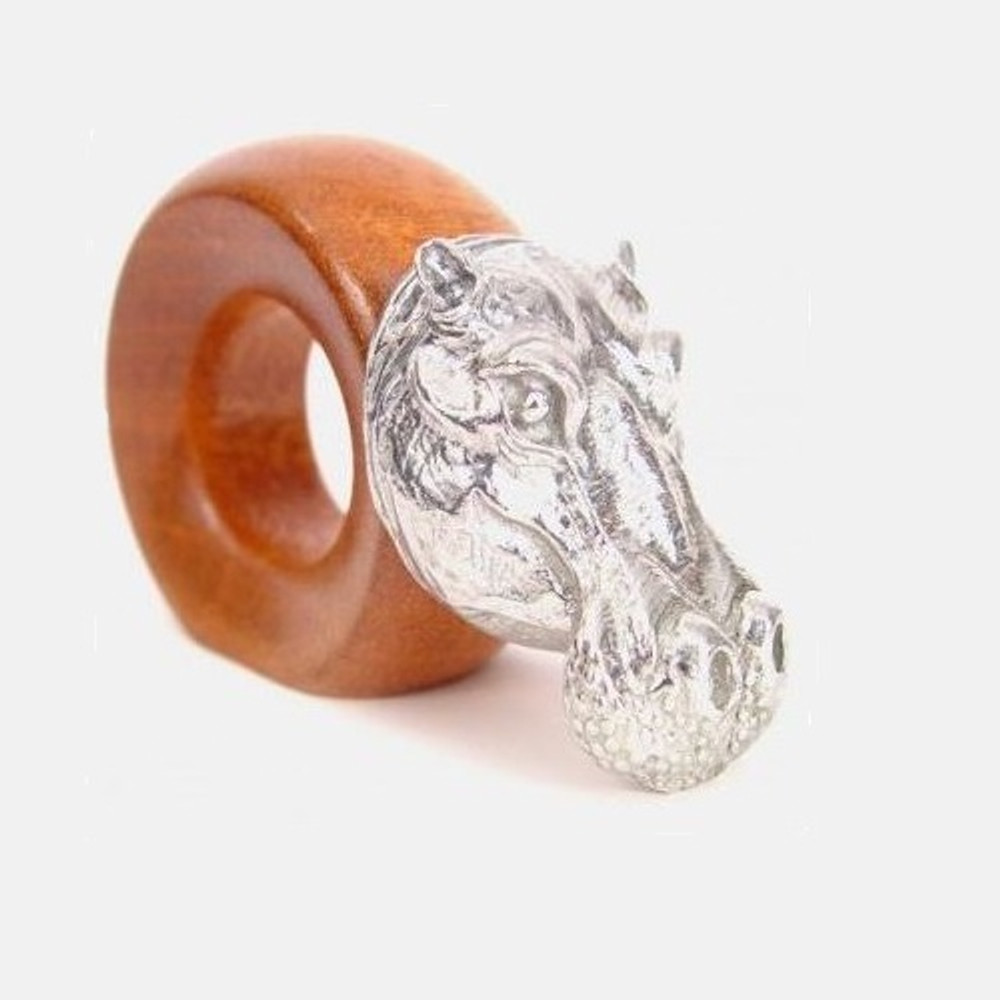 Hippo Wood and Pewter Napkin Ring | Mbare | MBSERW0022