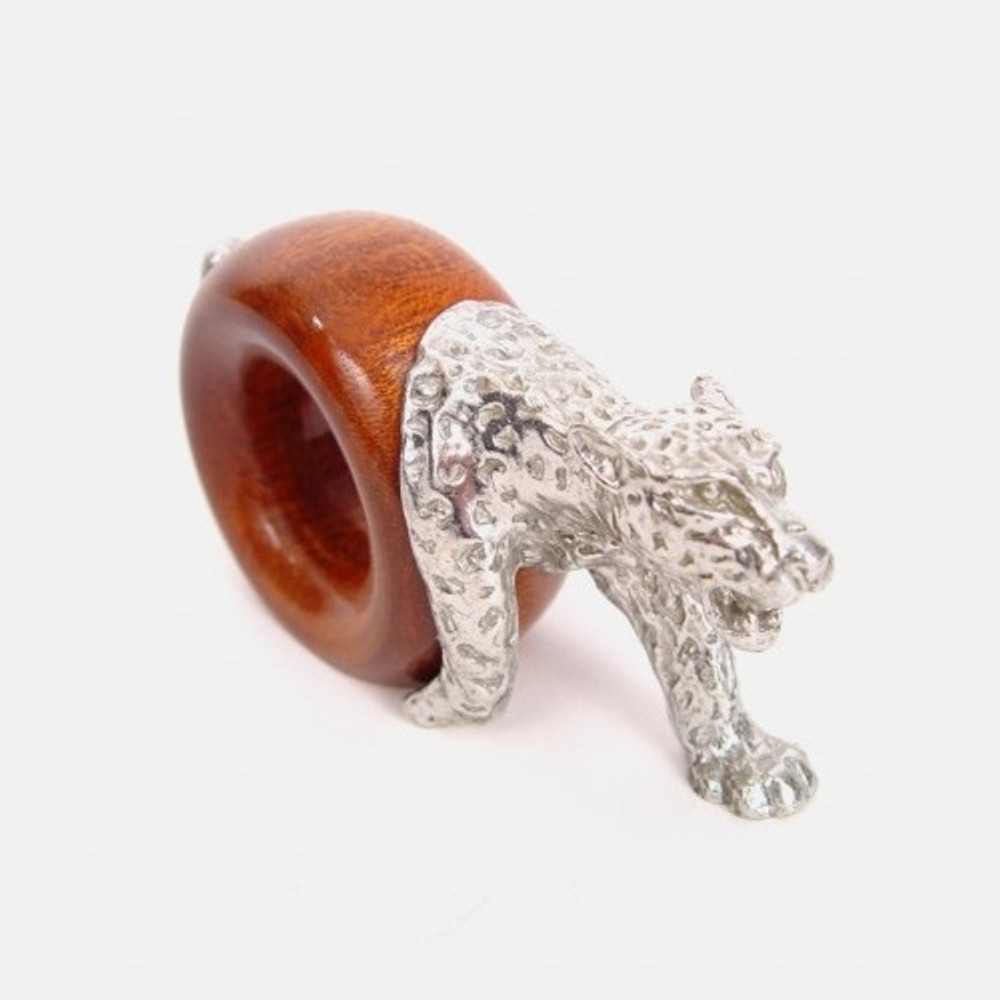 Leopard Wood and Pewter Napkin Ring | Mbare | MBSERW0024
