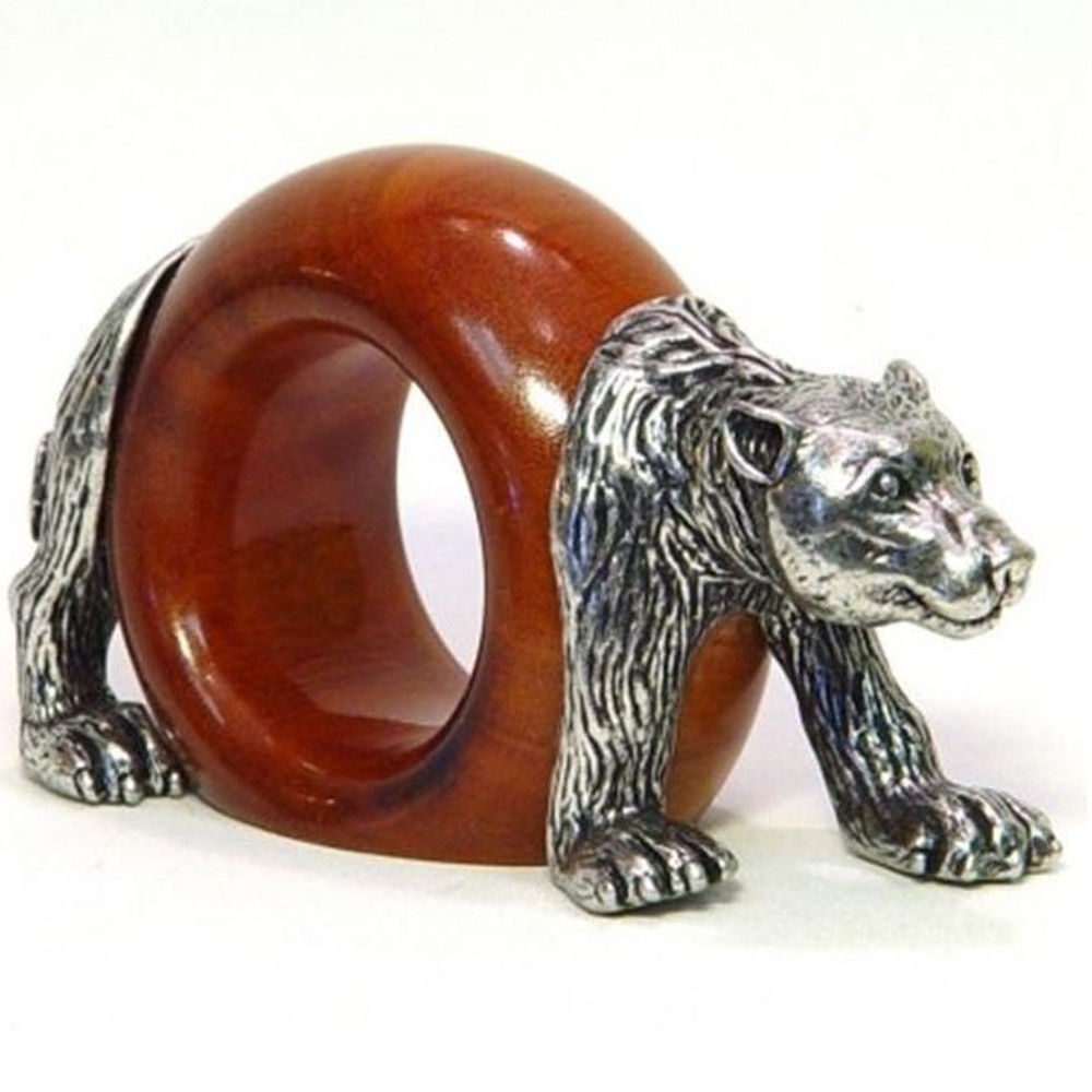 Bear Wood and Pewter Napkin Ring | Mbare | MBSERW0040