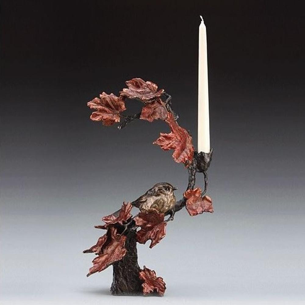 Autumn's Return Bird with Flowers Bronze Candelabra | Mark Hopkins | MHS72012