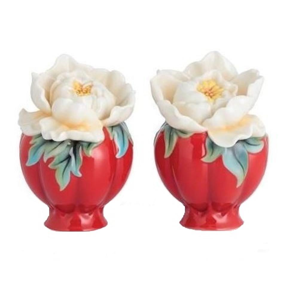 Venice Peony Salt Pepper Shakers   FZ02733   Franz Porcelain Collection