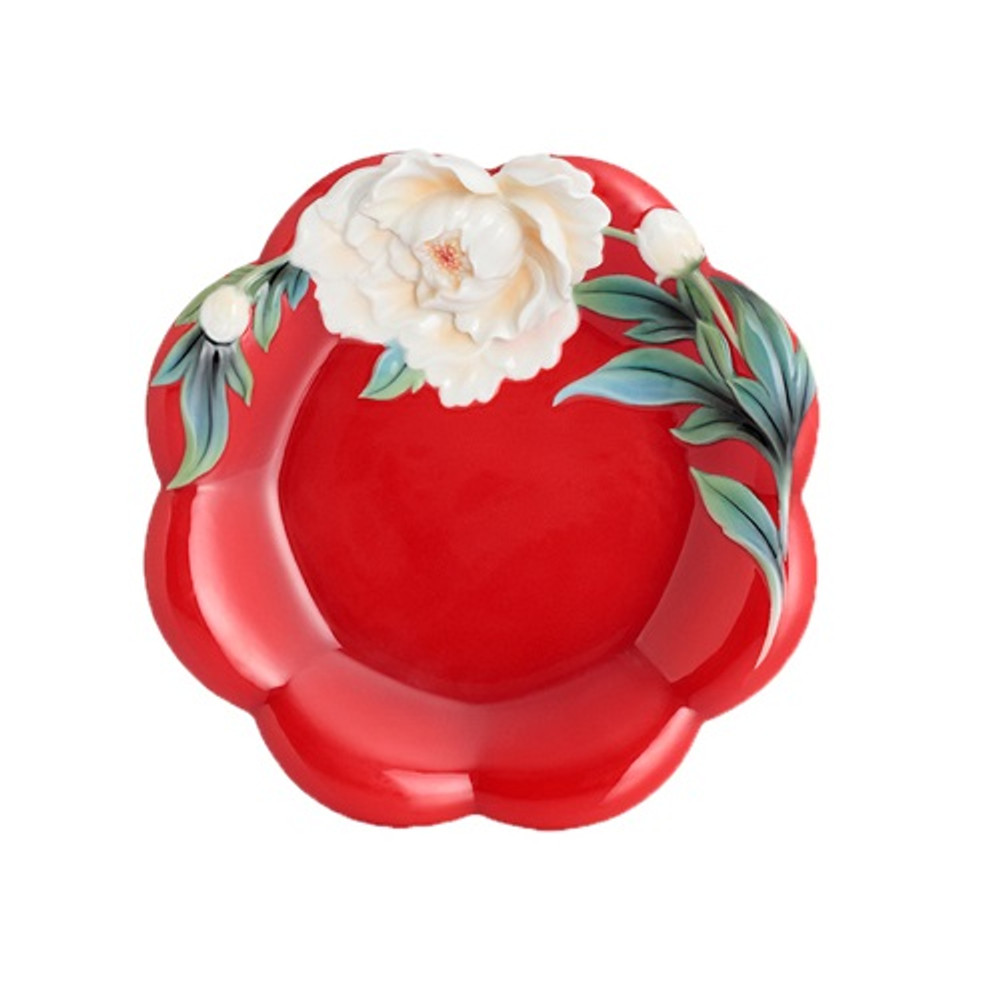 Venice Peony Porcelain Cake Plate | FZ02734 | Franz Porcelain Collection