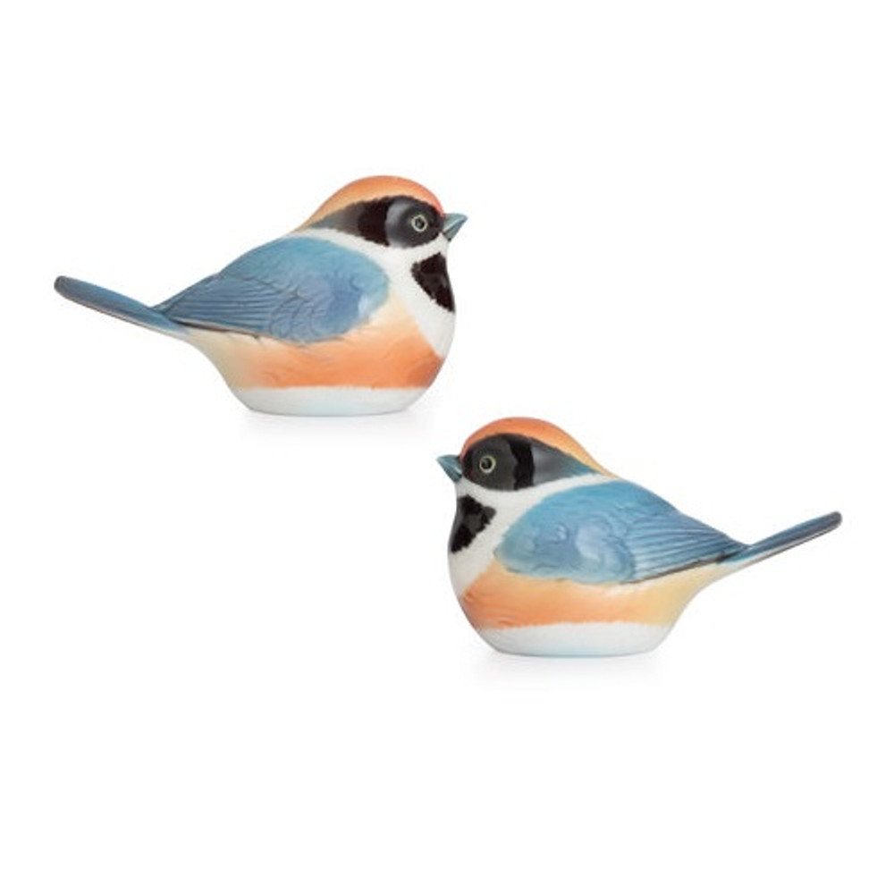Black Throated Passerine Bird Salt Pepper Shakers | FZ02747 | Franz Porcelain