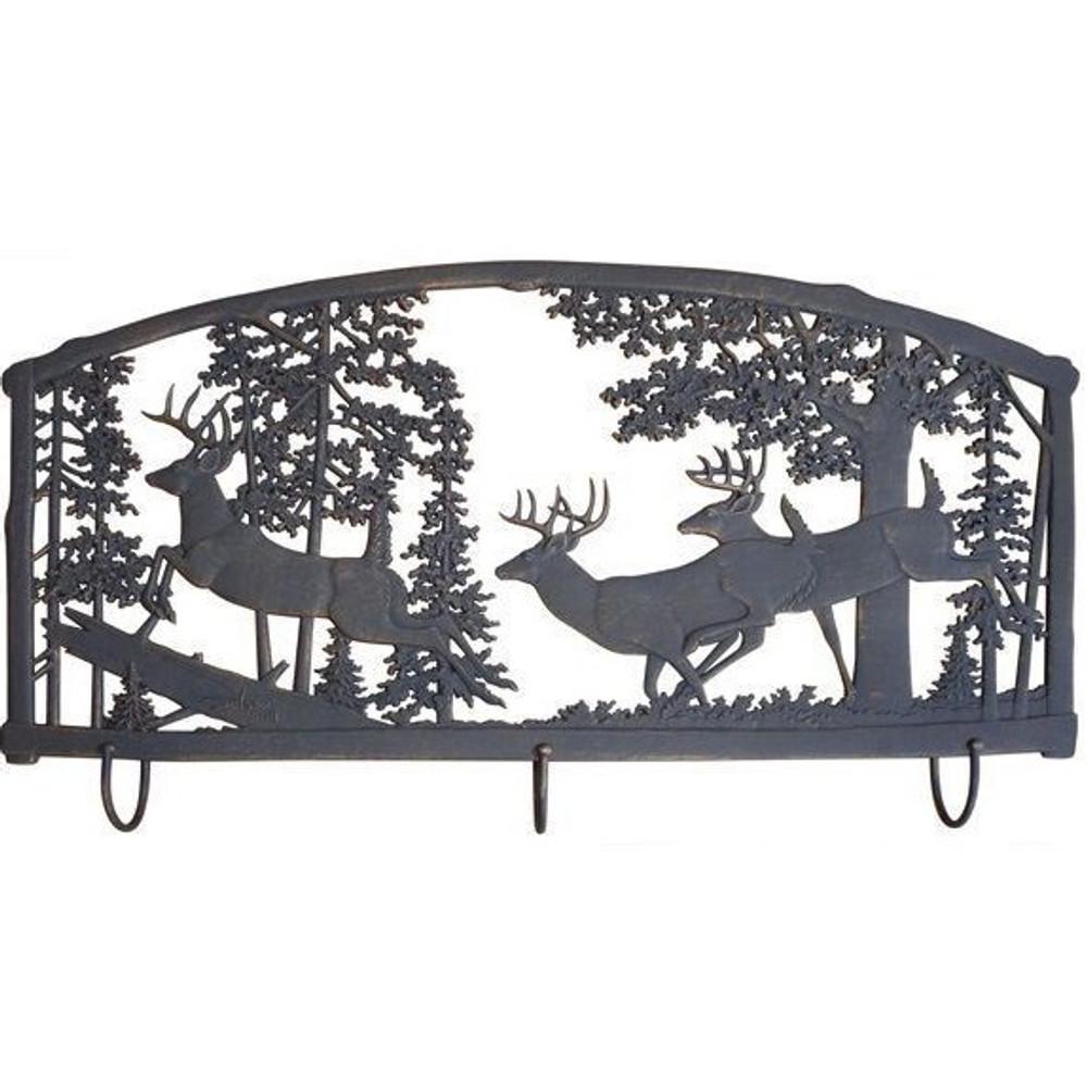 Deer Metal Wall Art Coat Rack | Painted Sky | PSWHAM-BK