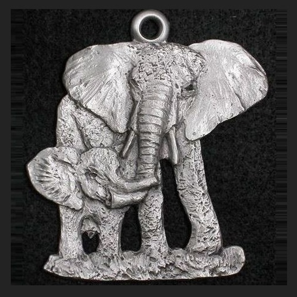 Elephant Mother and Baby Pewter Ornament | Andy Schumann | SCHMC122130