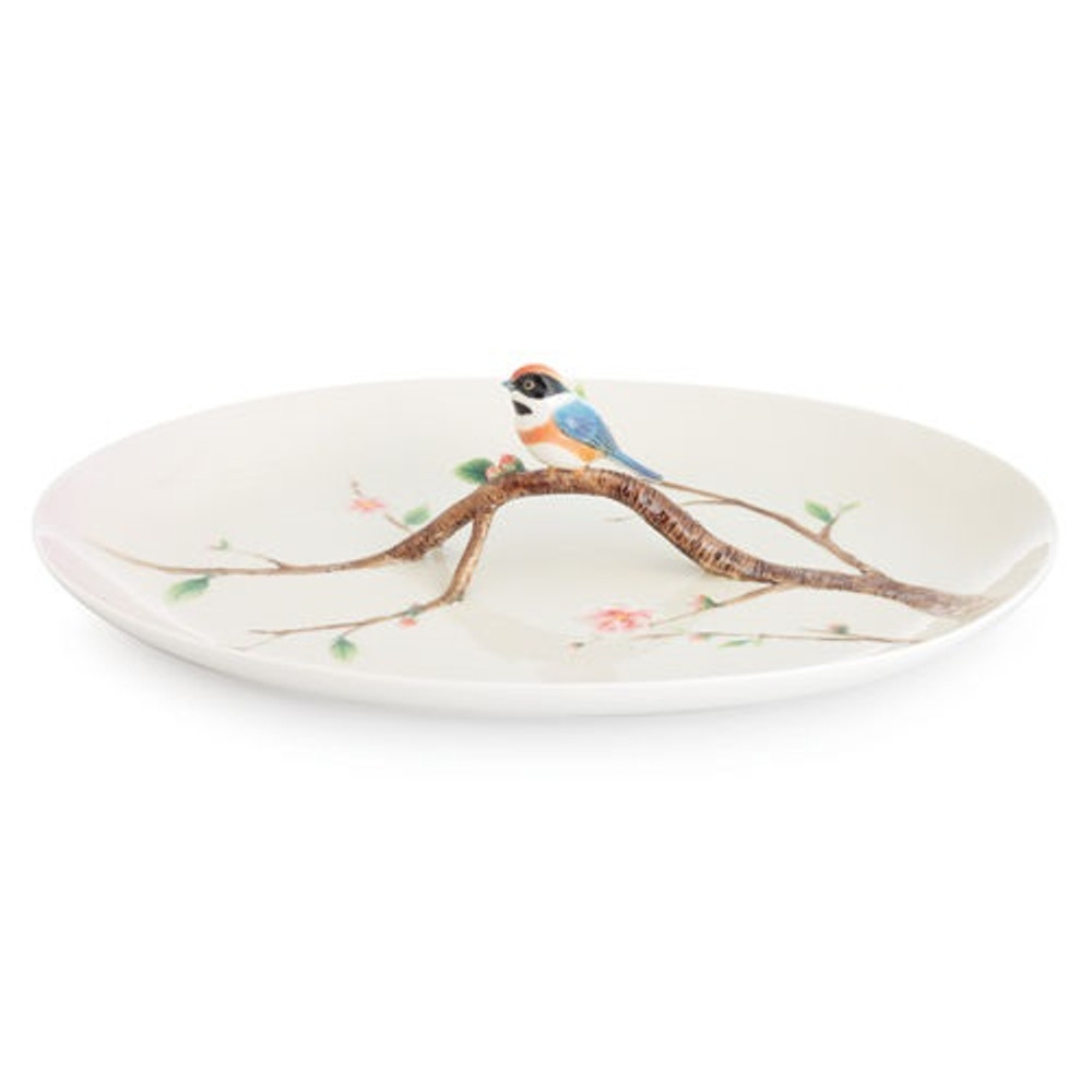 Black Throated Passerine Bird Porcelain Tray   FZ02759   Franz Porcelain Collection