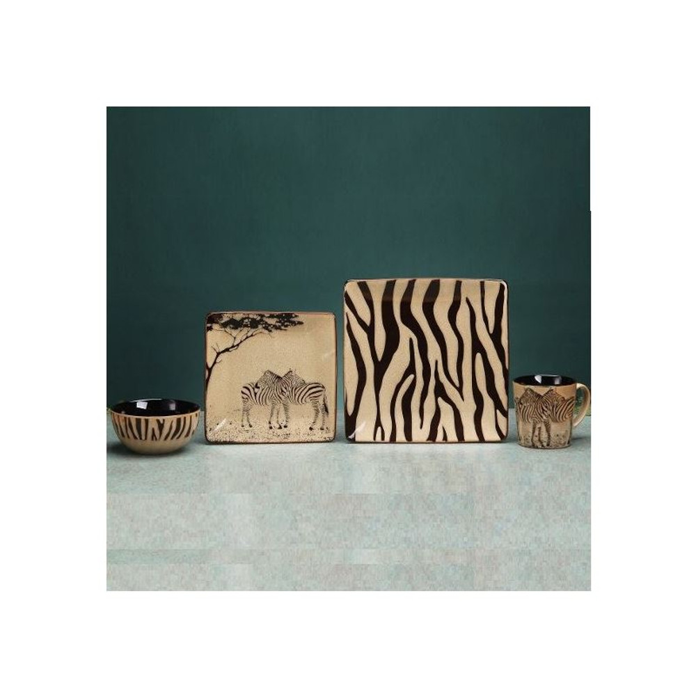 Zebra Dinnerware 4 Piece Place Setting | Unison Gifts | UGITCDZebra-1