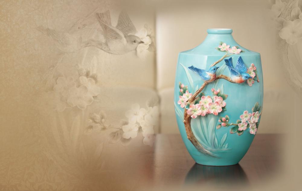 Bluebird on Apple Tree Vase | FZ02852 | Franz Porcelain Collection