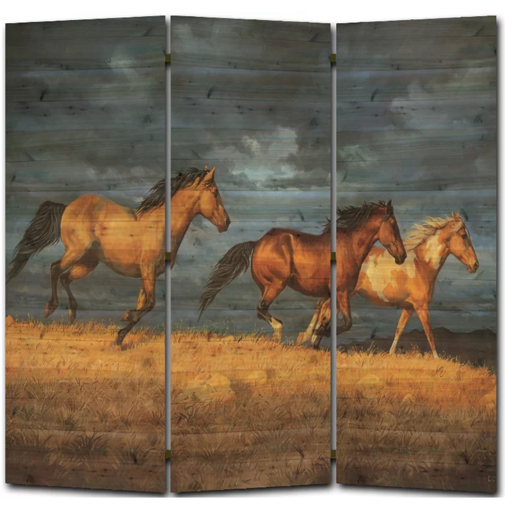 "Horse Cedar Room Divider ""Thunder Ridge"" 