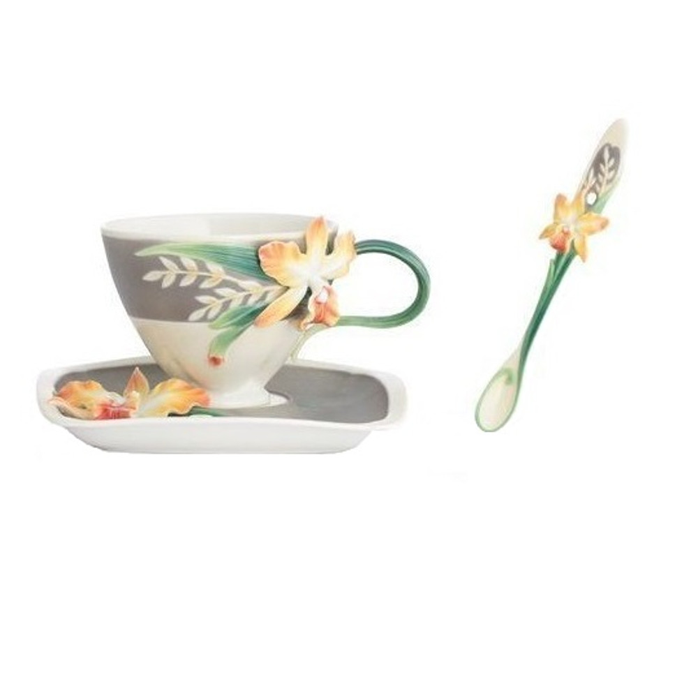 Magnificent Cattleya Orchid Cup Saucer Spoon | FZ02866 | Franz Porcelain Collection -2