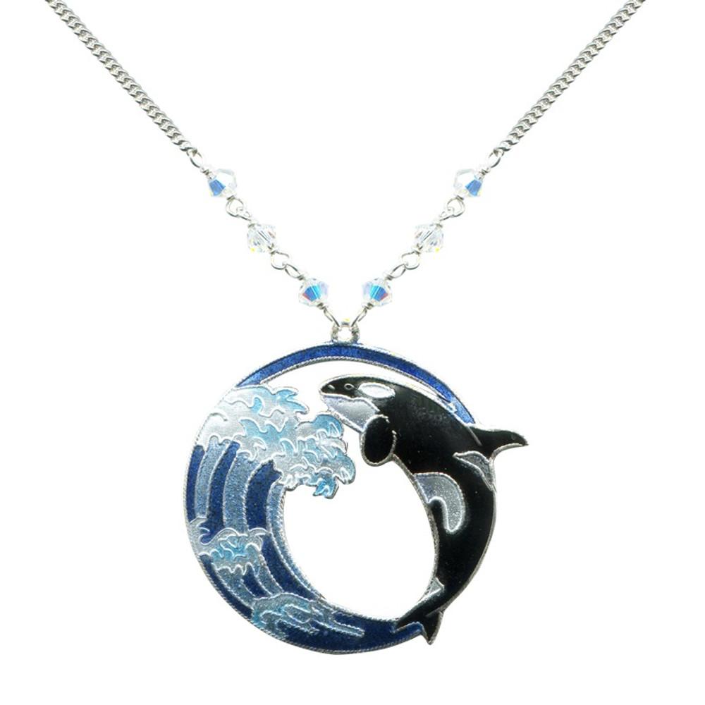 Hokusai Orca Wave Necklace   Bamboo Jewelry   BJ0244LN
