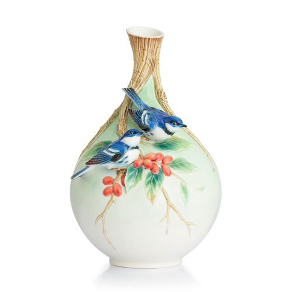 Cerulean Warblers/Coffee Tree Vase | FZ02877 | Franz Porcelain Collection